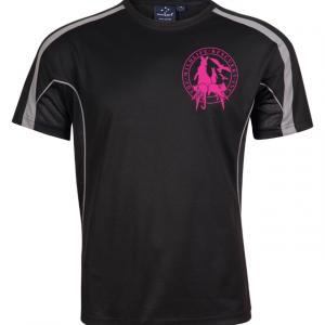 black tshirt with pink logo